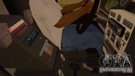 Land Rover Defender Sheriff для GTA San Andreas вид изнутри