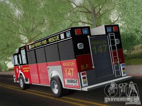 Pierce SFFD Rescue для GTA San Andreas вид справа