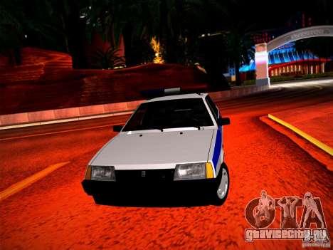 Ваз 2109 Police для GTA San Andreas вид сзади