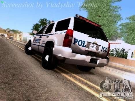 Chevrolet Tahoe 2007 NYPD для GTA San Andreas вид сзади слева