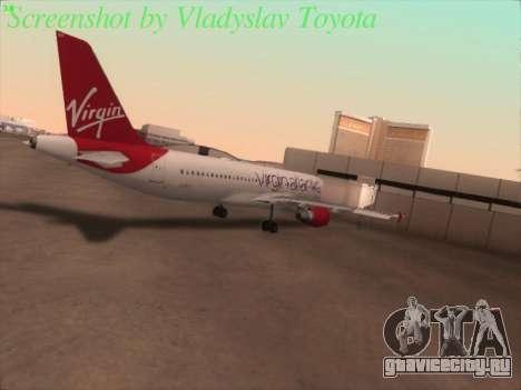 Airbus A320-211 Virgin Atlantic для GTA San Andreas вид сзади