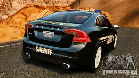 Volvo S60 Sheriff для GTA 4 вид сзади слева