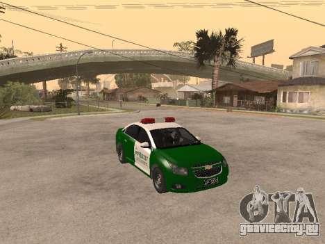 Chevrolet Cruze Carabineros Police для GTA San Andreas вид сзади