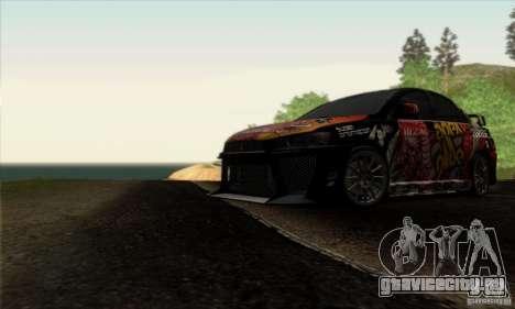 Mitsubishi Lancer Evolution X 2008 для GTA San Andreas салон