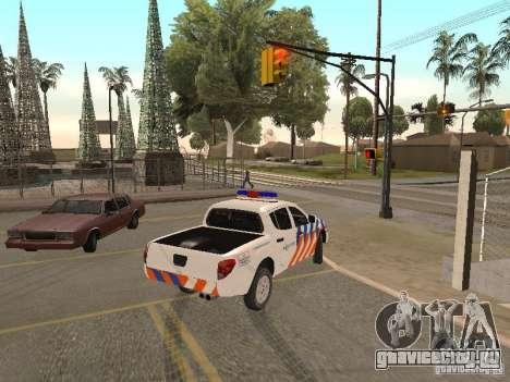 Mitsubishi L200 Police для GTA San Andreas вид сзади слева