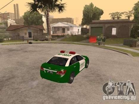 Chevrolet Cruze Carabineros Police для GTA San Andreas вид справа