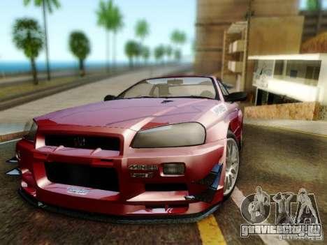 Nissan R34 Skyline GT-R для GTA San Andreas вид сзади