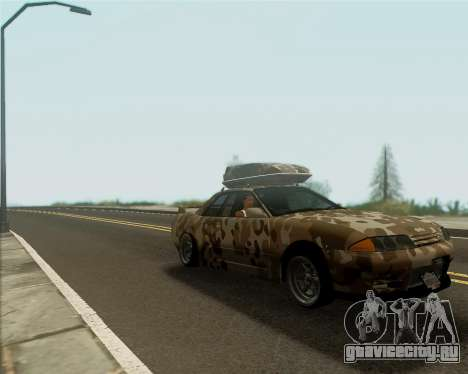 Nissan Skyline R33 Army для GTA San Andreas вид сзади слева