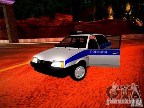 Ваз 2109 Police для GTA San Andreas вид изнутри
