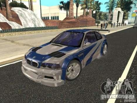 BMW M3 GTR из NFS Most Wanted для GTA San Andreas вид изнутри