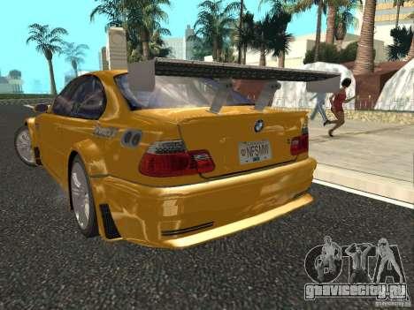 BMW M3 GTR из NFS Most Wanted для GTA San Andreas вид сзади слева