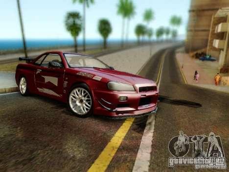 Nissan R34 Skyline GT-R для GTA San Andreas вид сзади слева