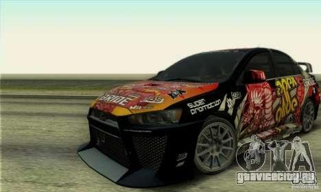 Mitsubishi Lancer Evolution X 2008 для GTA San Andreas вид сзади слева
