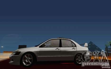 Mitsubishi Lancer Evo VIII GSR для GTA San Andreas вид изнутри