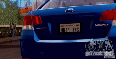 Subaru Legacy B4 2010 для GTA San Andreas двигатель