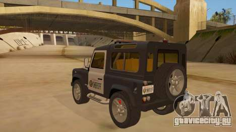 Land Rover Defender Sheriff для GTA San Andreas вид сзади слева
