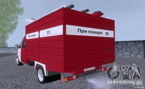 ГАЗ 33023 Пожарная для GTA San Andreas вид справа