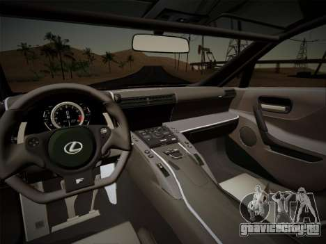 Lexus LFA Nürburgring Edition для GTA San Andreas вид изнутри