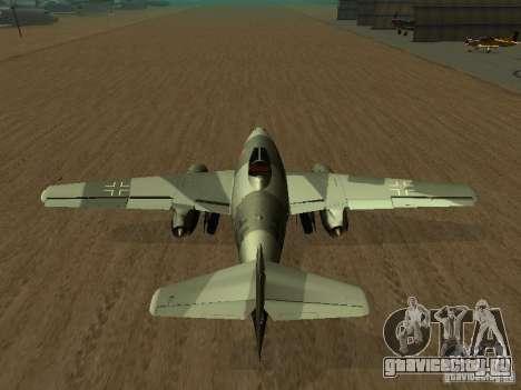 Messerschmitt Me262 для GTA San Andreas вид сзади слева