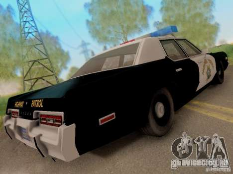 Dodge Monaco 1974 California Highway Patrol для GTA San Andreas вид сзади слева