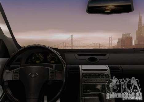 Infiniti G35 для GTA San Andreas вид снизу