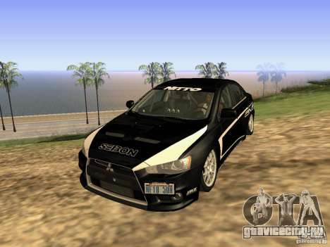 Mitsubishi Lancer Evo X для GTA San Andreas вид изнутри