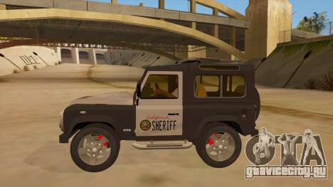 Land Rover Defender Sheriff для GTA San Andreas вид слева