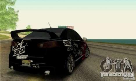 Mitsubishi Lancer Evolution X 2008 для GTA San Andreas вид сбоку