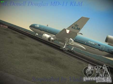 McDonnell Douglas MD-11 KLM Royal Dutch Airlines для GTA San Andreas вид сзади слева