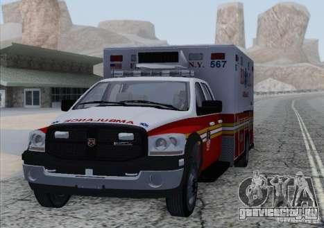 Dodge Ram Ambulance для GTA San Andreas вид сзади слева