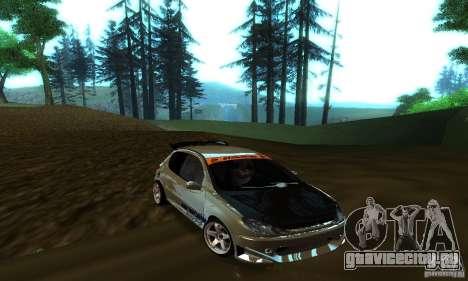 Peugeot 206 Tuning для GTA San Andreas вид изнутри