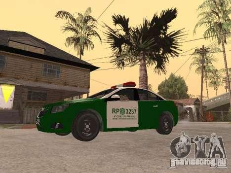 Chevrolet Cruze Carabineros Police для GTA San Andreas вид слева