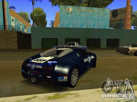 Bugatti Veyron Federal Police для GTA San Andreas вид сзади слева