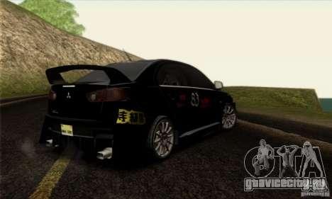 Mitsubishi Lancer Evolution X 2008 для GTA San Andreas вид снизу