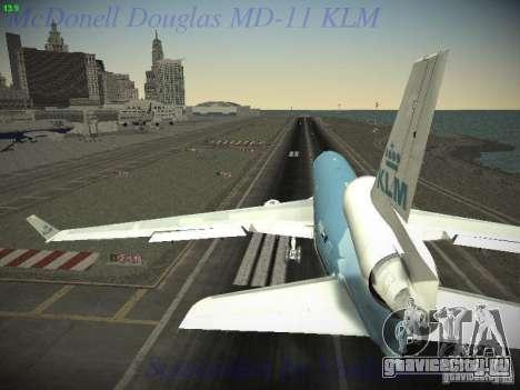 McDonnell Douglas MD-11 KLM Royal Dutch Airlines для GTA San Andreas вид справа