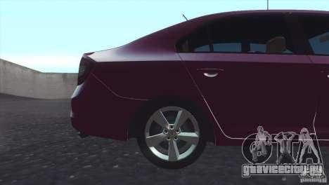 Skoda Rapid 1.6 C.R TDi 2013 V1 для GTA San Andreas вид сзади слева