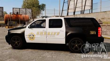 Chevrolet Suburban GTA V Blaine County Sheriff для GTA 4 вид слева