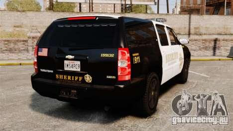 Chevrolet Suburban GTA V Blaine County Sheriff для GTA 4 вид сзади слева