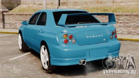 Subaru Impreza для GTA 4 вид сзади слева