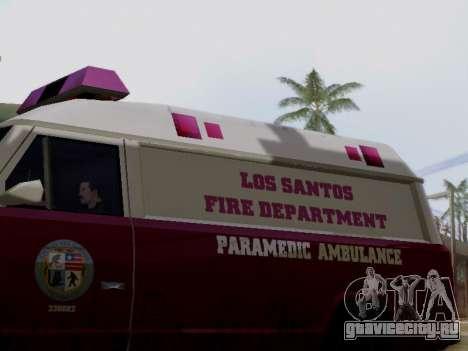 Vapid Ambulance 1986 для GTA San Andreas вид сзади слева