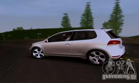 Volkswagen Golf 6 GTI для GTA San Andreas вид изнутри