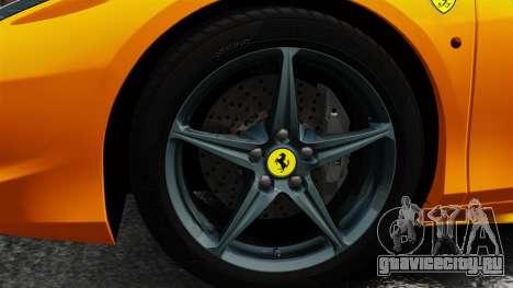 Ferrari 458 Spider 2013 Italian для GTA 4 вид сзади