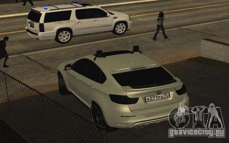 BMW X6 M с мигалками ППС для GTA San Andreas вид справа