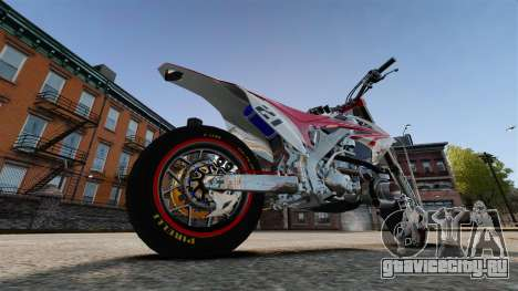 Honda CRF 450 Turbo Motard для GTA 4 вид сзади