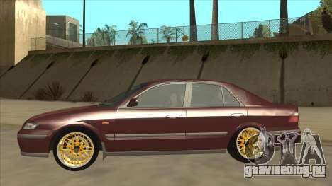 Mazda 626 Hellaflush для GTA San Andreas вид сзади