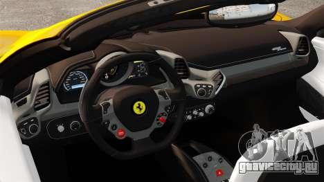 Ferrari 458 Spider 2013 Italian для GTA 4 вид изнутри
