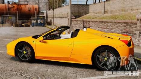 Ferrari 458 Spider 2013 Italian для GTA 4 вид слева