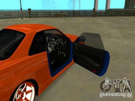 Nissan Skyline R-34 для GTA San Andreas вид изнутри