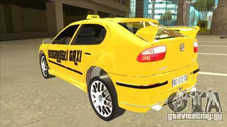 Seat Leon Belgrade Taxi для GTA San Andreas вид сзади