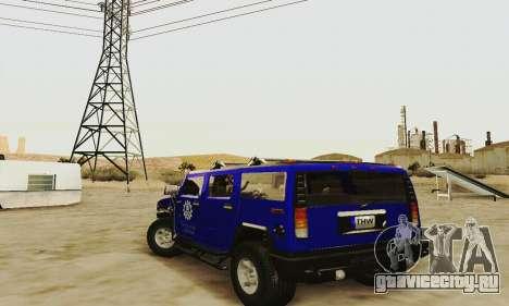 THW Hummer H2 для GTA San Andreas вид сзади слева